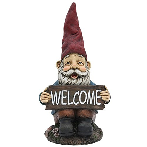 14'' Garden Gnome & Welcome Sign: Quality Garden and Patio Decor by Harmony Fountains