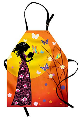 Ambesonne Feminine Apron, Flowers Butterflies and Silhouette of Girl in Floral Dress Bouquet Fantasy Art, Unisex Kitchen Bib Apron with Adjustable Neck for Cooking Baking Gardening, Orange Black