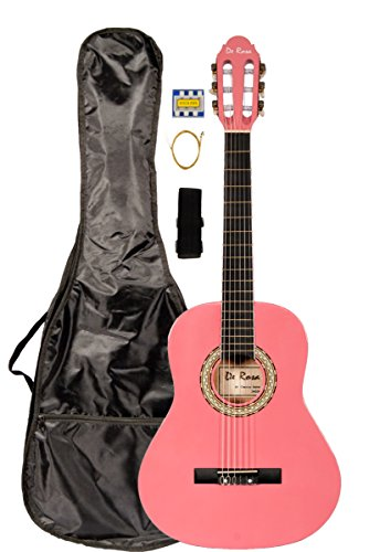 36 INCH DeRosa DKF36 Kid's PINK 3/4 Classical Nylon String Guitar great for beginners by De Rosa