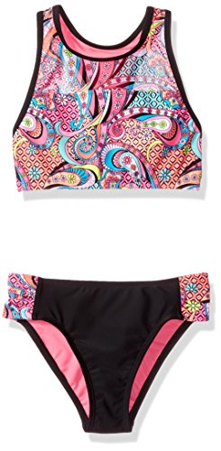 Angel Beach Big Girls' Swim Paisly Pizazz Bikini Set, Multi, 10