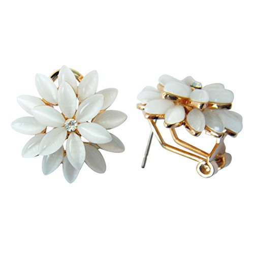 - Navachi 18k Gold Plated Flower Horse-eye Created-Opal Az1599o Omega Earrings
