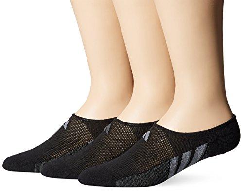 adidas Men's Superlite Super No Show Socks (3 Pack), Large, Black/Graphite/Medium Lead