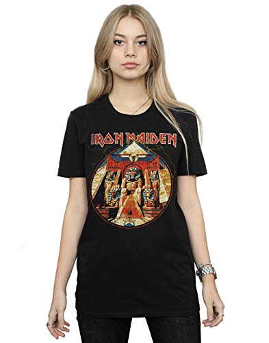 Absolute Cult Iron Maiden Women's Powerslave Lightning Circle Boyfriend Fit T-Shirt Black Medium
