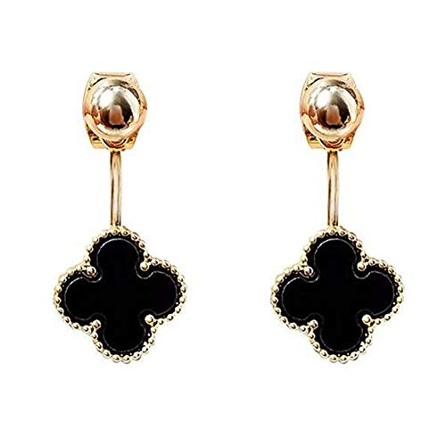 Hypoallergenic Gold Plated 18K Classic Black Onyx Agate Four Leaf Clover Drop Dangle Tassel Earrings