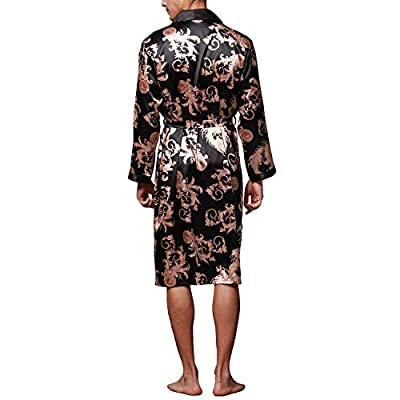 Lu's Chic Men's Satin Kimono Robe Silk Spa Bathrobe Luxurious Dragon Robe Pockets Loungewear