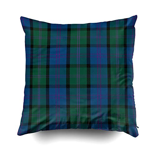 EMMTEEY Home Decor Throw Pillowcase for Sofa Cushion Cover, Halloween Traditional macthomas Clan Tartan Plaid Decorative Square Accent Zippered and Double Sided Printing Pillow Case Covers 20X20Inch ()