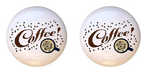 SET OF 2 KNOBS - Coffee Beans Cup Layout #GJVk5cCO - Coffee Tea Espresso - DECORATIVE Glossy CERAMIC Cupboard Cabinet PULLS Dresser Drawer KNOBS