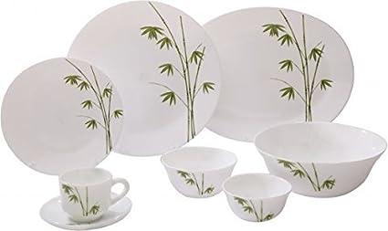 LaOpala Foliage Dinner Set, 19-Pieces, White/Green