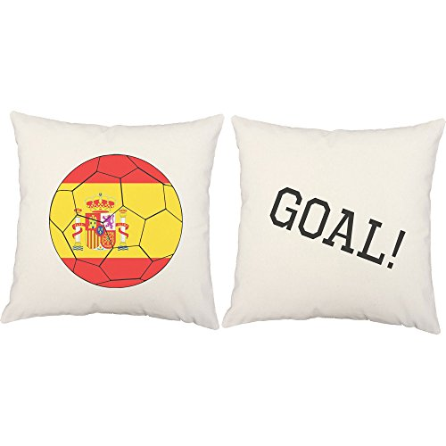 Set of 2 RoomCraft Spain Flag Soccer Ball White Indoor 20x20 Square Accent Throw Pillows by RoomCraft