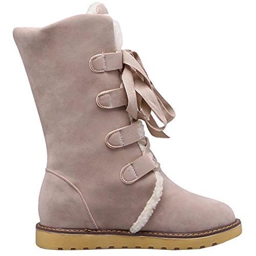 AIYOUMEI Damen Winter Flache Halb Stiefel mit Schnürung und Plateau Bequem  Mid Calf Boots Beige ...