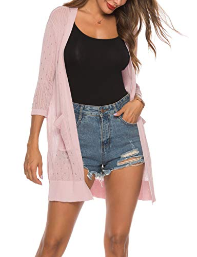 (LYHNMW Womens Casual Long Sleeve Lightweight Open Front Long Knited Cardigan with Pocket(Pink,XXL))
