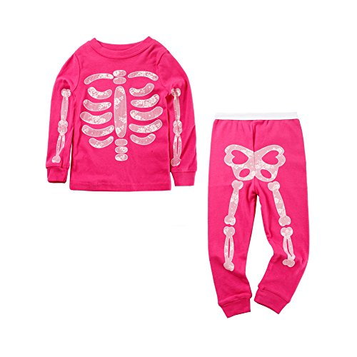 Glow In The Dark Girls Pajamas (Mud Kingdom Toddler Girls Pajamas Glow in The Dark Funny Hot Pink 24)