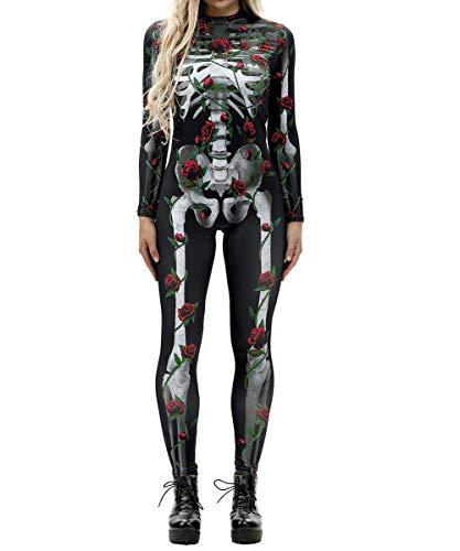 GuPoBoU168 Womens Halloween Punk Rock Skull Skeleton Bones Print Jumpsuit Style E XL for $<!--$29.99-->