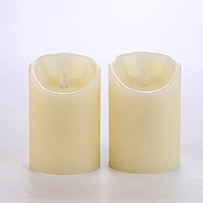 "BRAZING CANDLES 2 pack Pillar Flameless LED Candles, 3"" x 5"", Ivory, with remote"