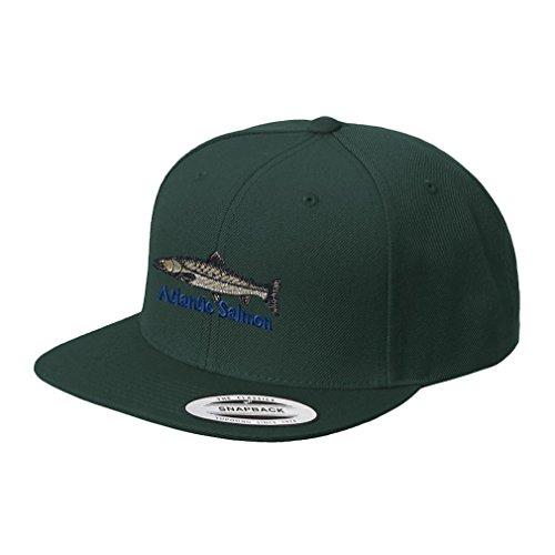 Atlantic Salmon Embroidered Flat Visor Snapback Hat Spruce Green (Atlantic Visor)