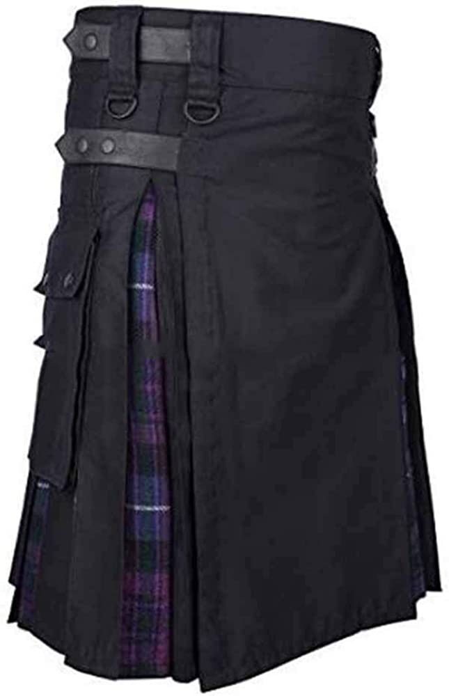 kewing Vestido escoc/és Retro Medieval para Hombre Falda Tradicional de Las Faldas de Las monta/ñas con Bolsillos de Cuero h/íbrido