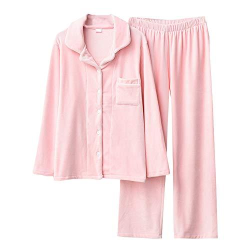 E Suaves Pink Con Y Otoño Manga De Pijama Botones Simples Invierno Mmllse Pijamas Larga nOTxqH