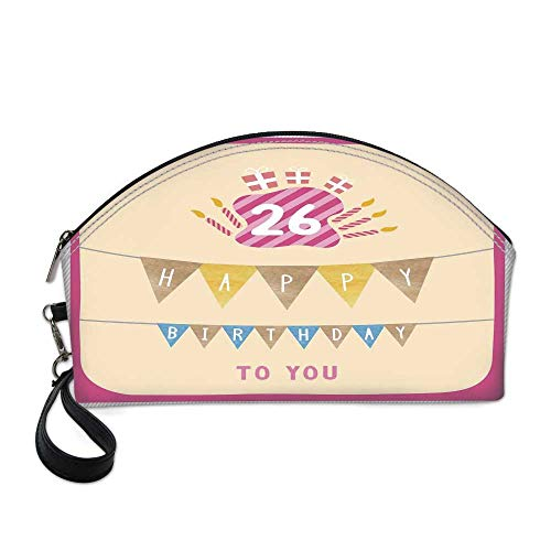 26th Birthday Decorations Beautiful Women's semi circular cosmetic bag,Anniversary Flag with Best Wishes Message Life Modern Print For traveling,10.8