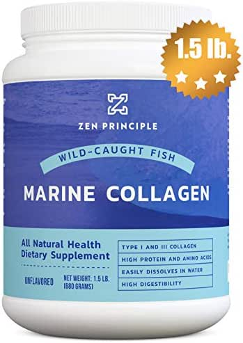 Large 1.5 lb. Marine Collagen Peptides Powder. Wild-Caught Fish, Non-GMO. Supports Healthy Skin, Hair, Joints and Bones. Hydrolyzed Type 1 & 3 Protein. Amino Acids, Unflavored, Easy to Mix.