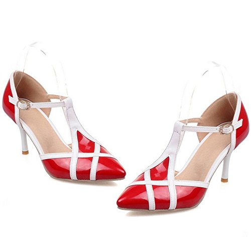 COOLCEPT Zapatos Mujer Verano Moda Multi Color Hebilla Al Tobillo Tacon Alto Bombas Zapatos Sandalias Rojo