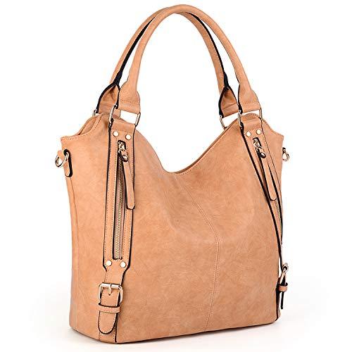 UTO Women Handbags Shoulder Bags Tote PU Leather Handbags Fashion Large Capacity Bags - Apricot Leather Handbag