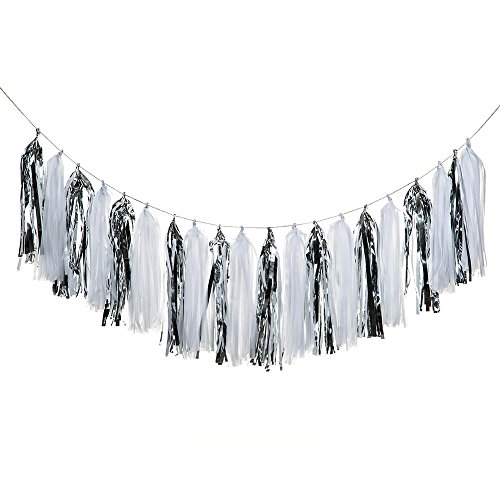 ZOOYOO Tissue Paper Tassels, Tassel Garland Banner for Event & Party Supplies, 20 pcs DIY Kits (White/Silver)