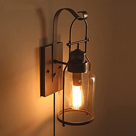 low priced d427c bd082 ANYE Loft And Vintage Style Lamp Shade Retro Wall Lamp Iron ...