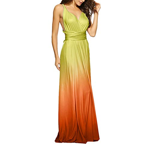 JustWin Women's Gradient Sling Deep V Strap Halter Sexy Dress Sleeveless Party Long Maxi Cocktail Bandage Dress ()