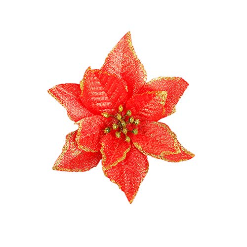 Aland 24Pcs Artificial Christmas Flower Ornament Xmas Tree Garland Wreath Party Decor Christmas Celebration Decorations Christmas Flower Christmas Tree Garland Accessories Red