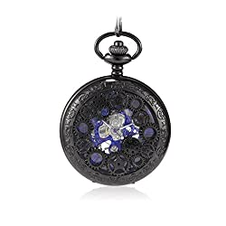Sinopic Steampunk Pocket Watch for Men with Vintage Blue Roman Numerals Skeleton Black Dial with Chain