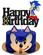Hedgehog Cake Topper, Decorations for Sonic Cake Topper with Birthday Party Cake Supplies for Birthday, the Blue Hedgehog Cake Decor Glitter Cake Topper