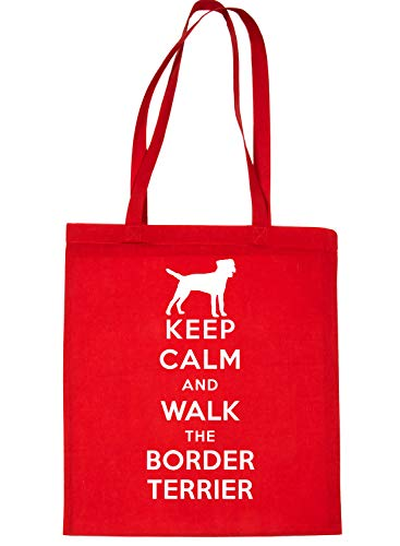 Tote Dog Print4u Shopping Walk Keep Calm Bag Red Border amp; Terrier 7rqp5pzcw