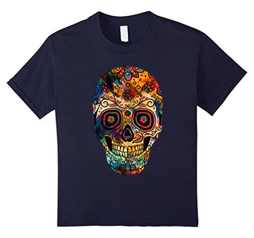 Kids Halloween Sugar Skull Costume Scary Pumpkin Happy T-shirt 12 Navy (Nerd Costume Spirit Halloween)