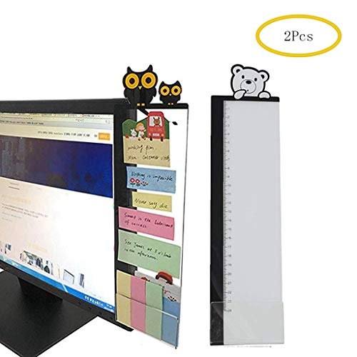 (Eraimp Right Computer Monitors Side Panel/Acrylic Message Boards Memo Pads - Cute Owl&Bear - Notes Memo Board for Computer Monitors(2Pack/Set))