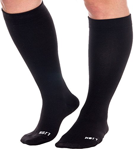 Plain Jane Wide Calf Compression Socks - Graduated 15-25 mmHg Knee High Plus...