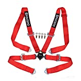 """Spocoro SB-0204RD-QR-1 4 Point Racing Safety Harness Cam Lock with 2"""" Straps, Red (Pack of 1)"""