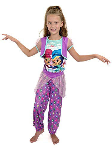 Nickelodeon Girls' Little Shimmer and Shine 2-Piece Fantasy Pajama Set, Violet, 6