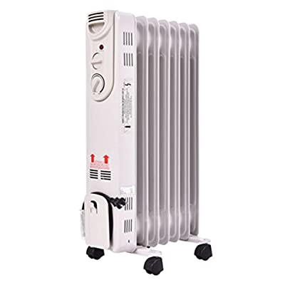 Portable Heat 1500W Comfor Temp Electric Oil Filled Radiator Space Heater 5-Fin Thermostat Room Radiant