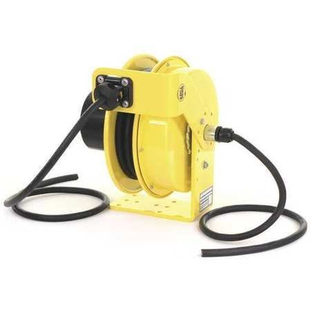 (KH Industries RTF Series ReelTuff Industrial Grade Retractable Power Cord Reel, 12/4 SOOW Cable, 16 Amp, 30' Length, Yellow Powder Coat Finish)