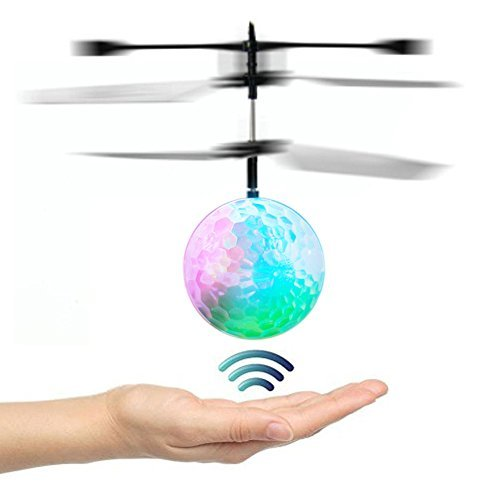 Price comparison product image Goolsky Mini Flying infrared Induction Helicopter Flash Disco Colorful Shining LED Lighting Ball Toys Gesture-Sensing for Kids Teenagers