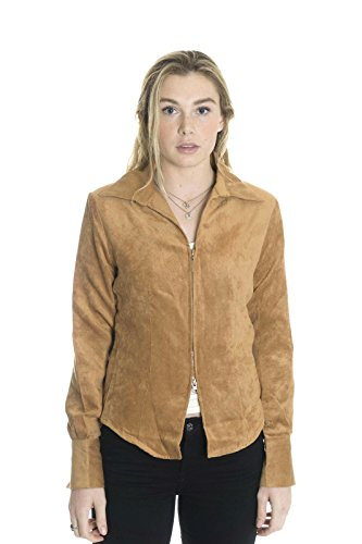 Paparazzi by Biz Women's Zip Front Sueded Jacket in Cognac, Medium