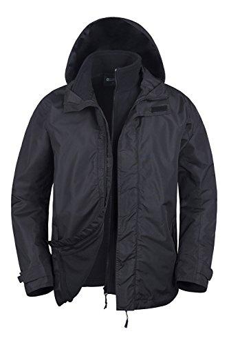 Mountain Warehouse Fell Herrem wasserabweisende 3 in 1 Multifunktionsjacke mantel mit Kapuze warm bequem Alltwetterjacke mantel mit Fleece Innenjacke mantel warm bequem outdoor Camping Schwarz X-Large