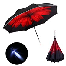 DOLIROX LED Inverted Umbrella Double Layer Car Reverse Umbrella Windproof and UV Protection Self Standing with SOS Caution Light Safe Reflective Piping Functional Straight Umbrella with Carrying Bag