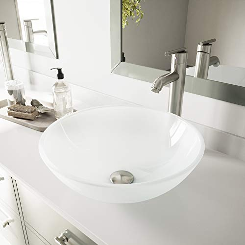 - VIGO White Frost Vessel Sink and Seville Vessel Faucet with Pop Up, Brushed Nickel