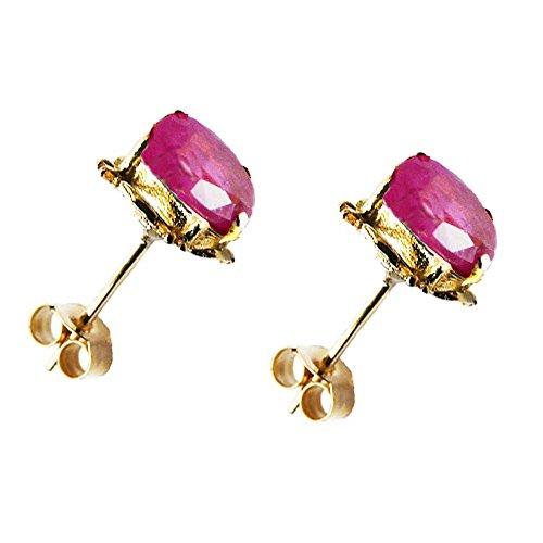 Jewellery World Bague en or jaune 9carats Rubis Véritable ovale-Boucles d'Oreilles Clous Femme-Pierre porte-bonheur Juillet-40e anniversaire de mariage cadeau