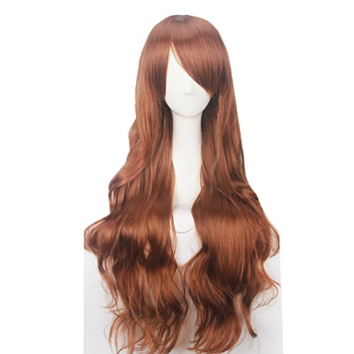 Yesui Light Brown Long Curly Wigs 32'' 80cm with Side Bangs Synthetic Heat Resistant Hair for Women Cosplay Party Wig