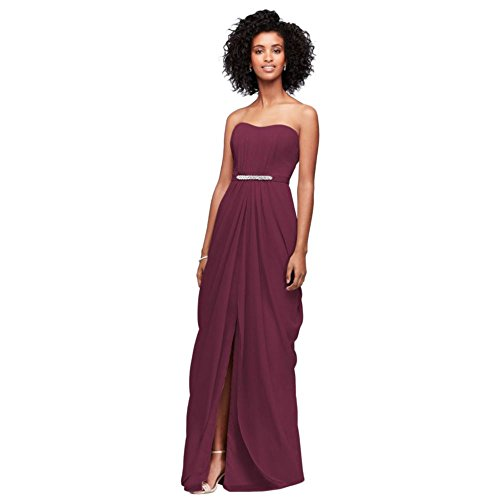 David's Bridal Strapless Chiffon Bridesmaid Dress with Swag Skirt Style F19650, Wine, 2