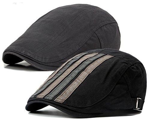 - Qunson 2 Pack Men's Cotton Flat Cap Ivy Gatsby Newsboy Hat