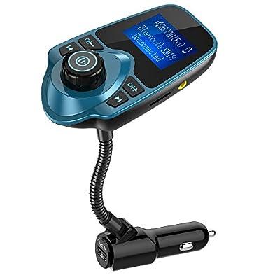 Nulaxy Bluetooth Car FM Transmitter Audio Adapter Receiver Wireless Hands Free Car Kit W 1.44 Inch Display