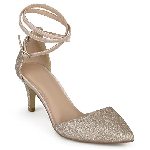 Journee Collection Womens Glitter D'orsay Pointed Toe Wrap Strap Pumps